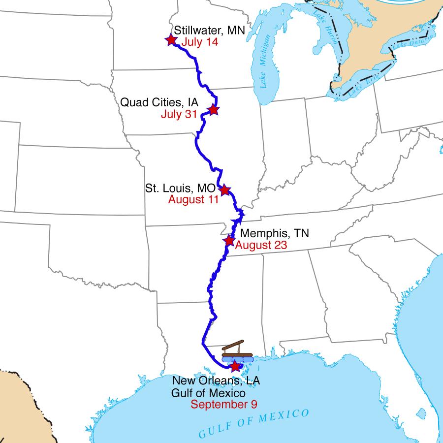 Modern Day Mississippi Barrel Raft Adventure Barrel Raft Boys - Us map of the mississippi river