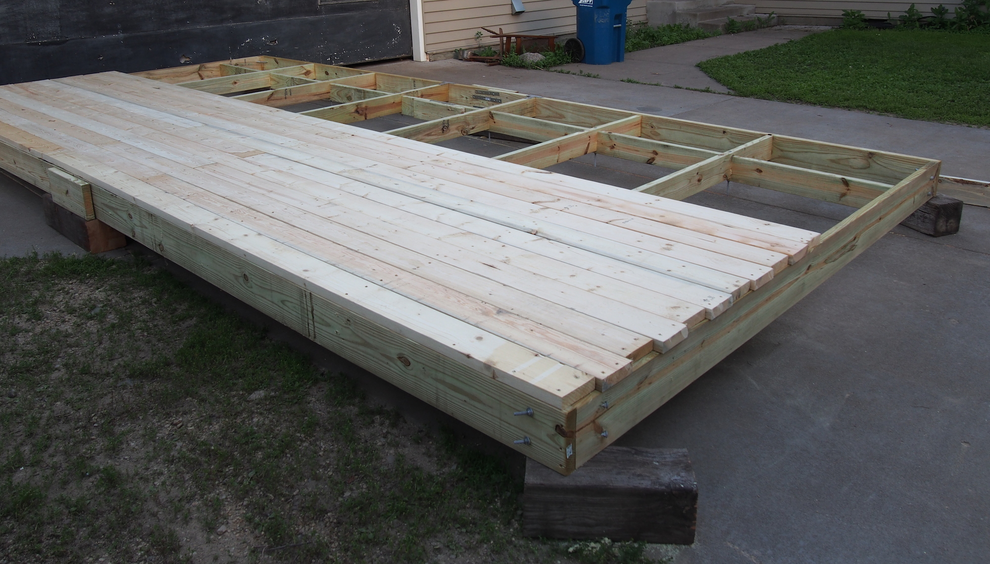 Barrel Raft Construction Decking